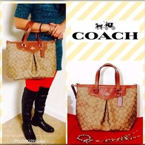 Coach Pleated Style Satchel Light Brown
